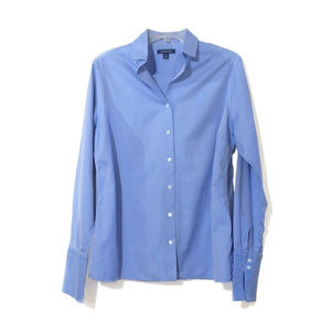 Blue Oxford blouse with double button french cuff